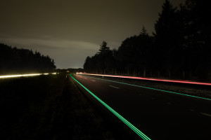 The painted road markings are said to be able to glow up to eight hours in the dark.Credit: Roosegaarde