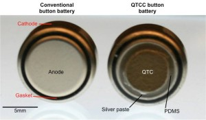 At left, a typical button battery; at right, a button battery coated with quantum tunneling composite (QTC).Credit: Bryan Laulicht/MIT
