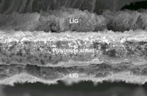 The flexible material created at Rice University has the potential for use in electronics or for energy storage.Image: Tour Group/Rice University
