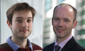 Brightman (right) and Hinds (left) have developed a novel electrode to boost green hydrogen research.Image: National Physical Laboratory