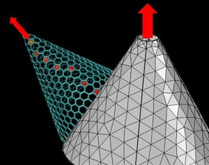 Carbon nanotubes, seamless cylinders of graphene, do not display a total dipole moment. While not zero, the vector-induced moments cancel each other out.Rice University