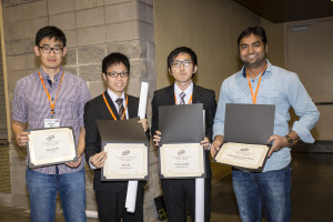 The 228th ECS Meeting Student Poster Session award winners holding their certificates.
