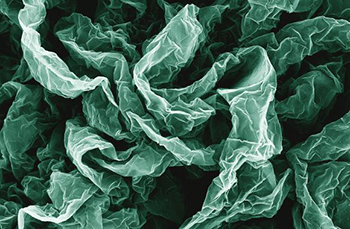 Wrinkles and crumples, introduced by placing graphene on shrinky polymers, can enhance graphene's properties.Image: Brown University
